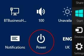 Windows 8 Shutdown Button
