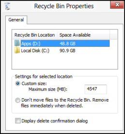 Windows 8 Recycle Bin Properties