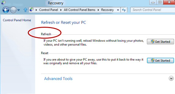 Create Windows 8 Image Recovery