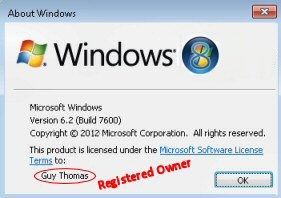 RegisteredOwner Registry Windows 8