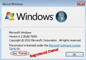 RegisteredOwner Registry Windows 8