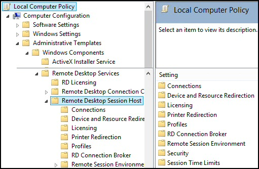 Windows 8 Remote Desktop Group Policy