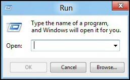 Windows 8 Run Dialog Box
