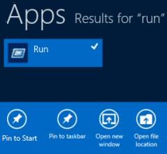 Pin Windows 8 Run