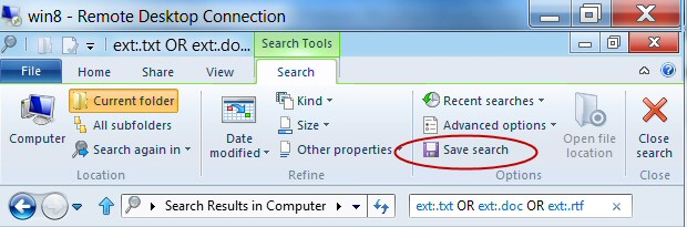 Windows 8 Search Save