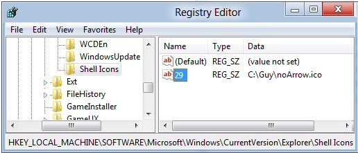 Removing Shortcut Arrow Windows 8