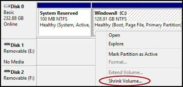 Shrink Volume Windows 8