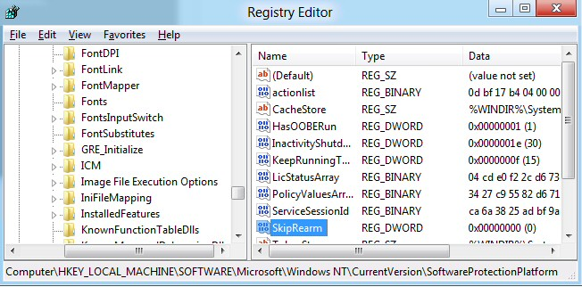 Windows 8 SkipRearm Registry