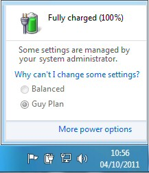 Windows 8: Click the Battery in the Navigation Area