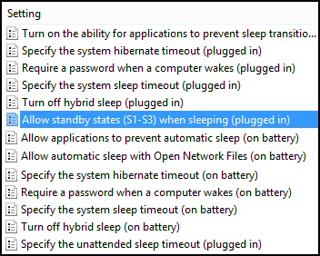 Sleep Policies Windows 8