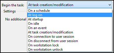 Windows 8 Task Scheduler Begin