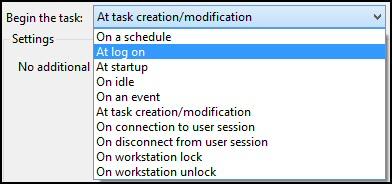 Windows 8 Task Scheduler Begin