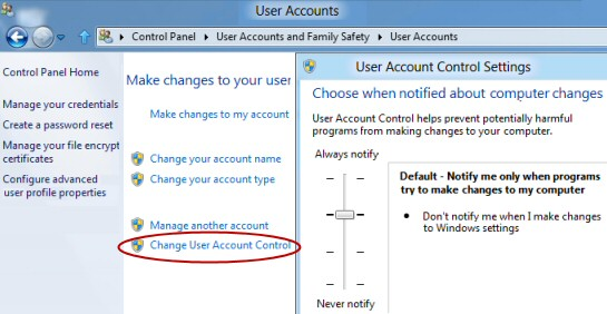 Change User Account Control Windows 8