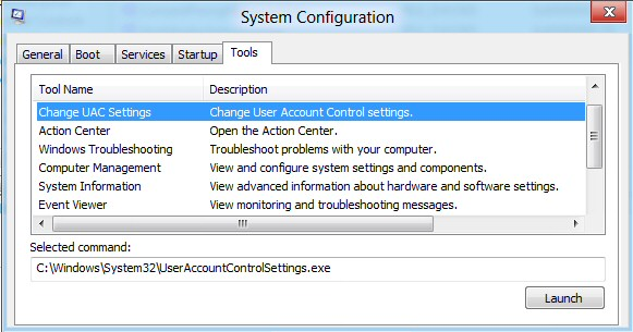 Change UAC Windows 8 MSconfig