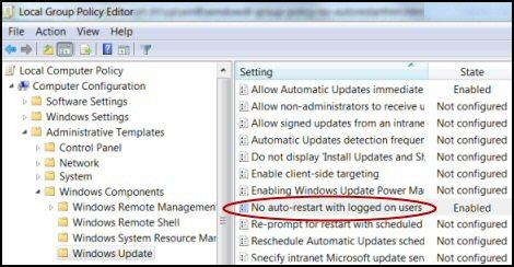 Windows 8 No Auto Restart Update Users Logged On