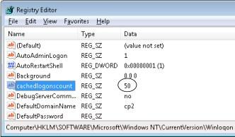 Set CachedLogonsCount = 0