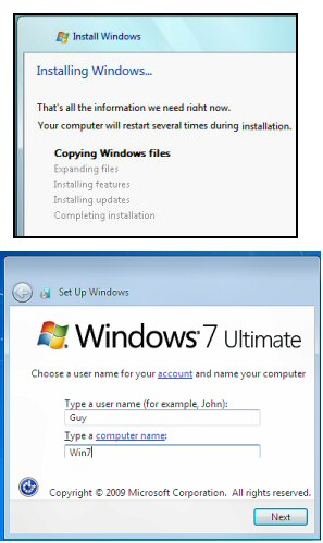 Installing Windows 7 - Copying and Expanding the files