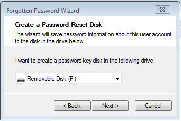Windows 7 Password Reset Wizard