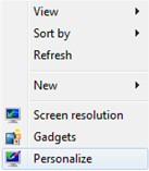 Windows 7 Personalize Desktop
