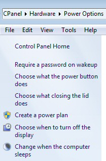 Windows7: Click the Battery in the Navigation Area