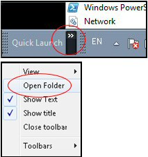 Windows 7 Quick Launch Open Folder