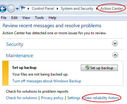 Action Center - View reliability history