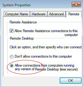 Windows 7 Remote Desktop Connection Troubleshooting