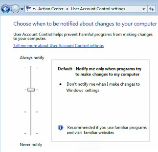 How to turn off the Windows 7 UAC