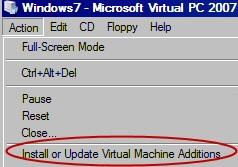 Virtual Machine Additons Microsoft's Virtual PC 2007