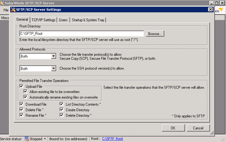 SolarWinds SFTP/SCP Server
