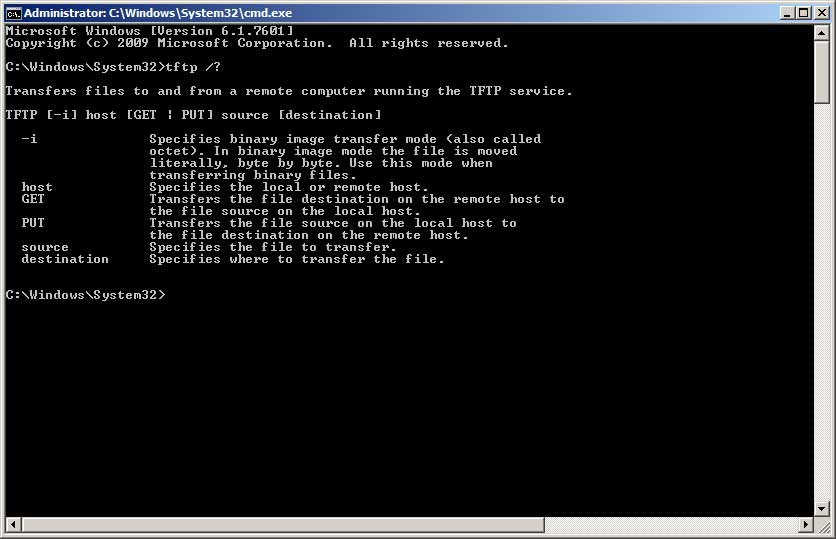 Windows TFTP Command line