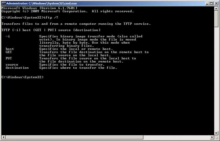 Windows TFTP Command line