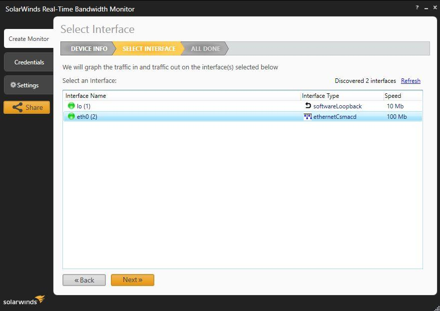SolarWinds Real-Time Bandwidth Monitor screenshot