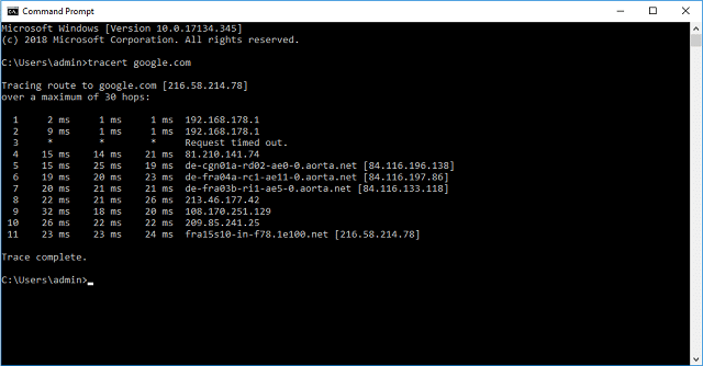 Windows Traceroute output