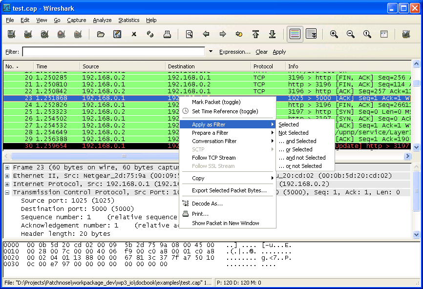 Wireshark Packet list